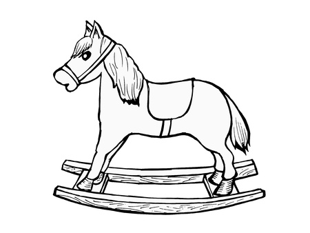 hand drawn, cartoon, illustration of rocking horse Vector