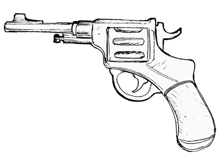 hand drawn, cartoon image of revolver Stock Vector - 18056680