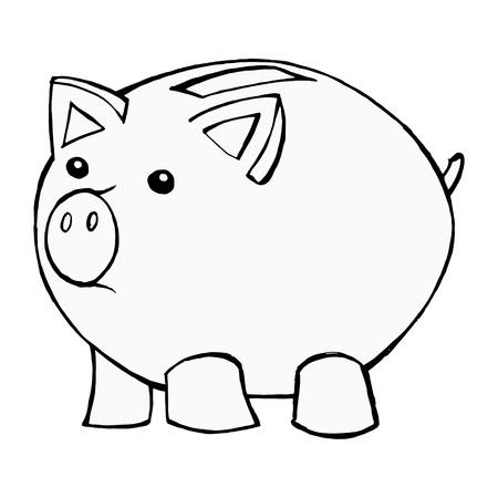 piggy bank: hand drawn, cartoon, illustration of piggy bank Illustration