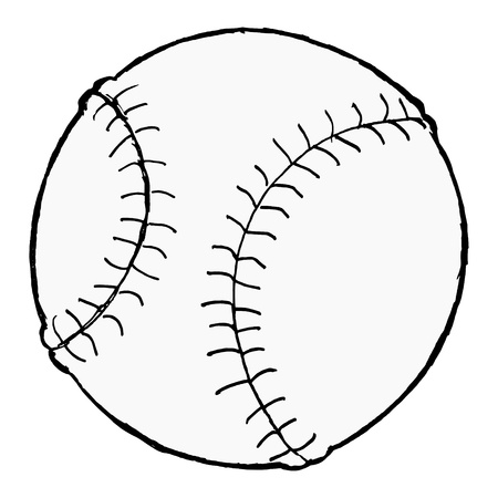 baseball ball: hand drawn, cartoon image of baseball ball
