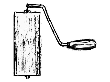 hand drawn, cartoon image of roller brush Stock Vector - 18056663