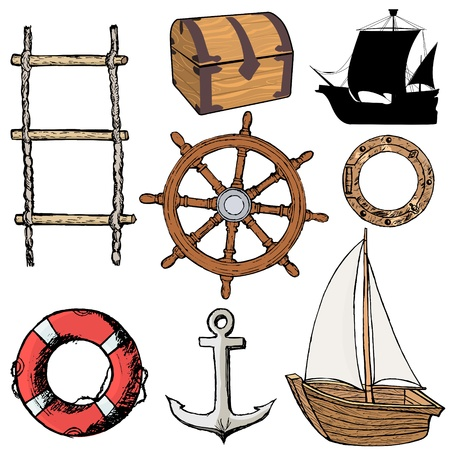 set of illustrations of marine related objects Vectores