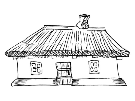 traditional house: cartoon, vector illustration of Ukrainian traditional house