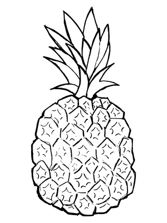 Hand drawn, vector, cartoon illustration of pineapple Stock Vector - 18145976