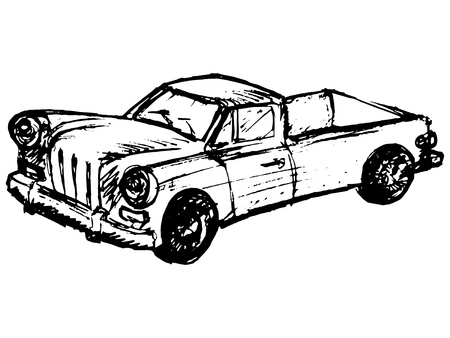 hand drawn, cartoon, sketch illustration of retro car Vector