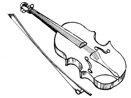 fiddle bow: hand drawn, sketch illustration of violin Illustration
