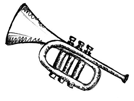 hand drawn, sketch illustration of horn Vector