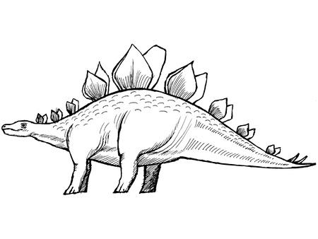 monstrous: mano, disegnato, schizzo illustrazione di stegosauro