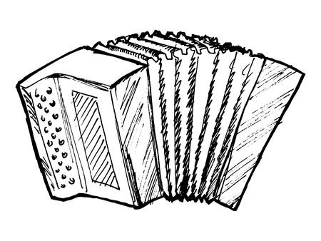 hand drawn, sketch, cartoon illustration of accordion Stock Vector - 20044103