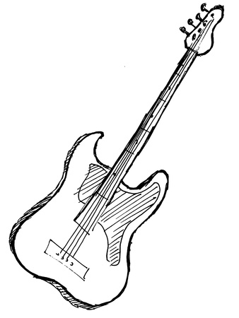 bass player: hand drawn, sketch, cartoon illustration of electric guitar Illustration