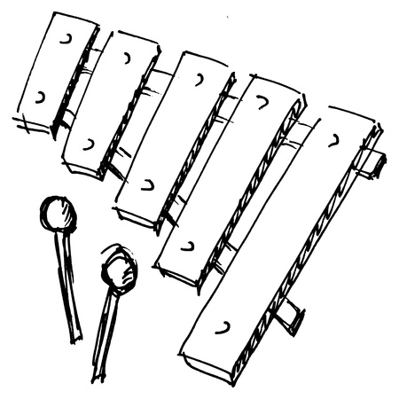 hand drawn, sketch, cartoon illustration of xylophone