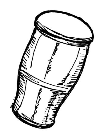 hand drawn, sketch, cartoon illustration of Indian drum Illustration