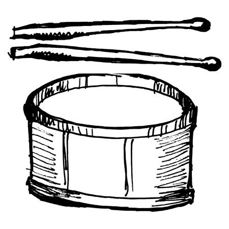 hand drawn, sketch, cartoon illustration of drum Vector