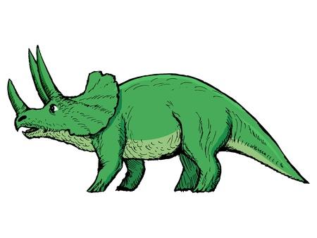 monstrous: mano, disegnato, vettore, schizzo illustrazione di triceratopo Vettoriali