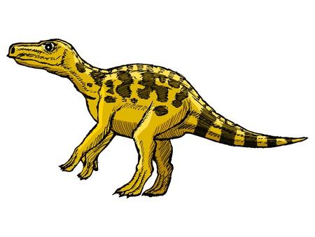 monstrous: mano, disegnato, vettore, schizzo illustrazione di iguanodon