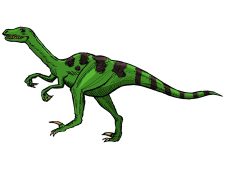 hand drawn, vector, sketch illustration of velociraptor Фото со стока - 21387263