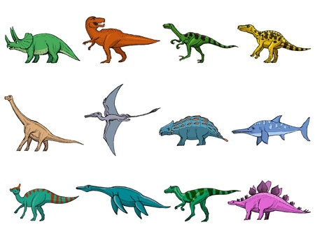 hand drawn, sketch illustration of different dinosaurs Vector