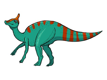 monstrous: disegnati a mano, vettore, illustrazione schizzo di Saurolophus Vettoriali