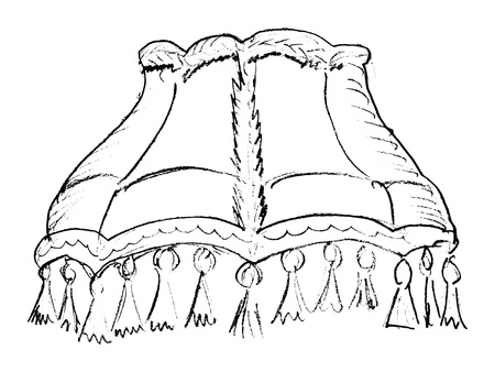 lampshade: hand drawn, vector, sketch illustration of lampshade Illustration