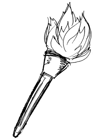 hand drawn, vector, sketch illustration of flambeau Vector