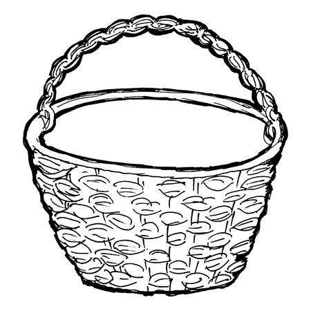 hand drawn, vector, sketch illustration of basket Illustration