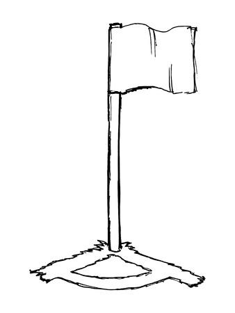 corner flag: hand drawn, vector, sketch illustration of soccer corner flag Illustration