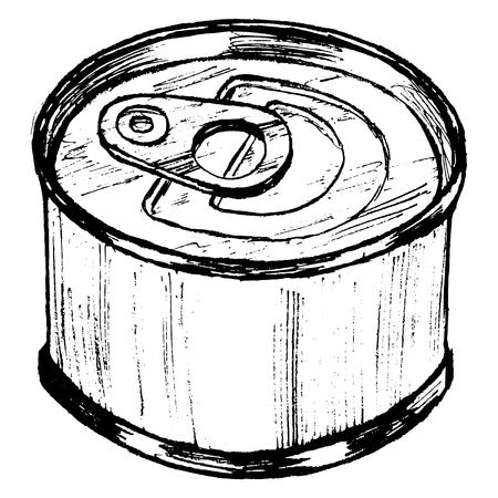 tin packaging: hand drawn, sketch, cartoon illustration of tin can Illustration