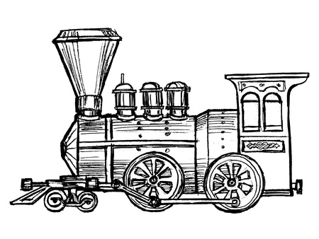hand drawn, sketch, cartoon illustration of steam train
