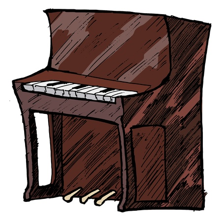hand drawn, sketch, cartoon illustration of piano Vector
