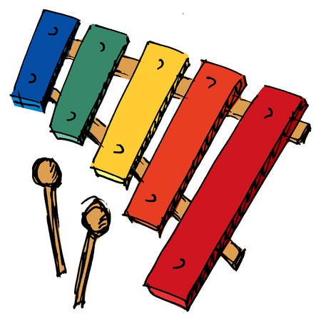 xylophone: hand drawn, sketch, cartoon illustration of xylophone