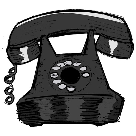 old phone: hand drawn, vector, sketch illustration of old phone