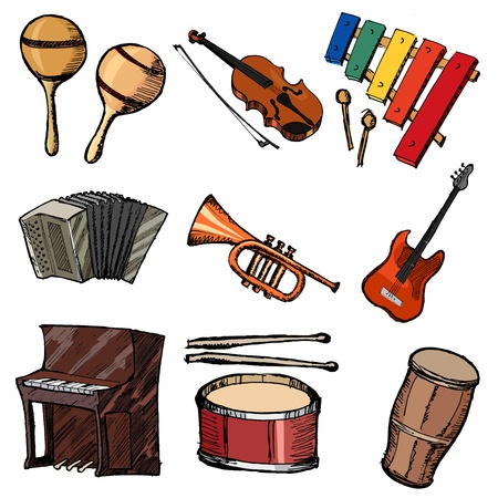set of sketch illustration of musical instruments Vector