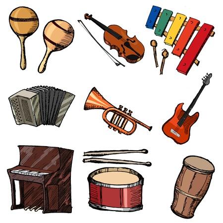 serie di sketch illustrazione di strumenti musicali