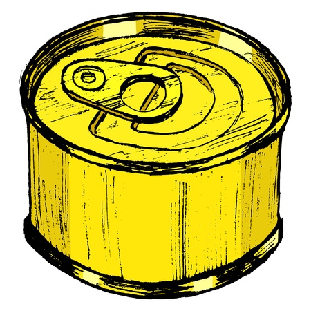canned food: hand drawn, sketch, cartoon illustration of tin can Illustration