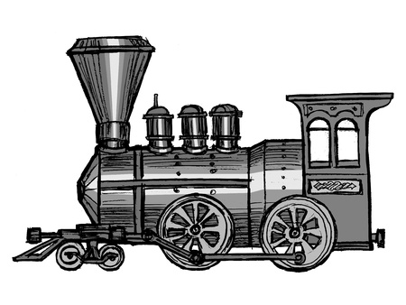hand drawn, sketch, cartoon illustration of steam train Vector