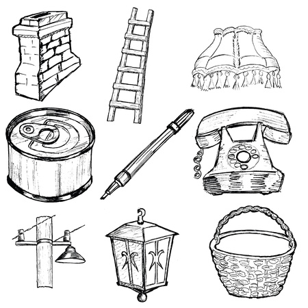 tin can phone: hand drawn, sketch set of home related illustration