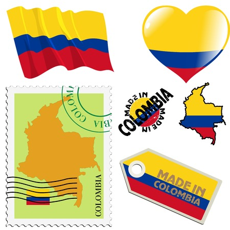 set of different symbols in national colours of Colombia Vector