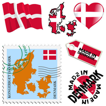 set of different symbols in national colours of Denmark Vector