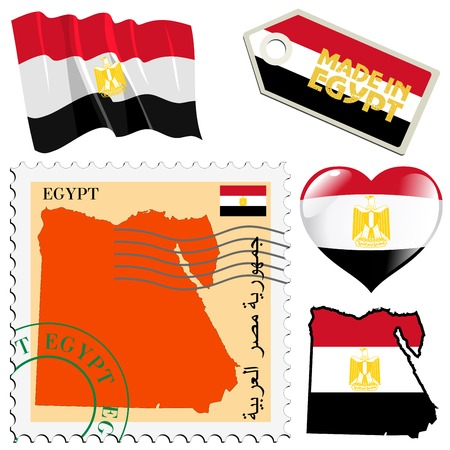 Set Of Different Symbols In National Colours Of Egypt Royalty Free