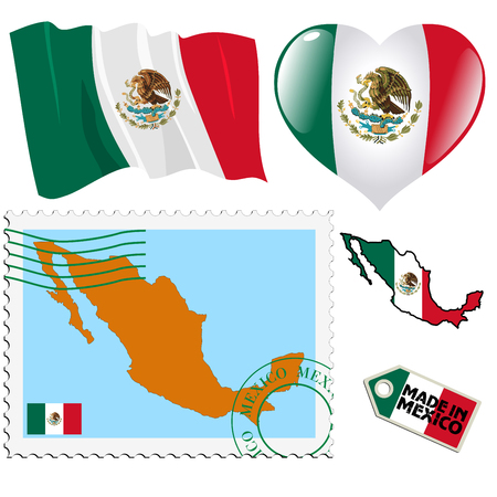 set of different symbols in national colours of Mexico Vector