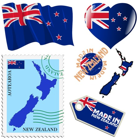 set of different symbols in national colours of New Zealand Vector