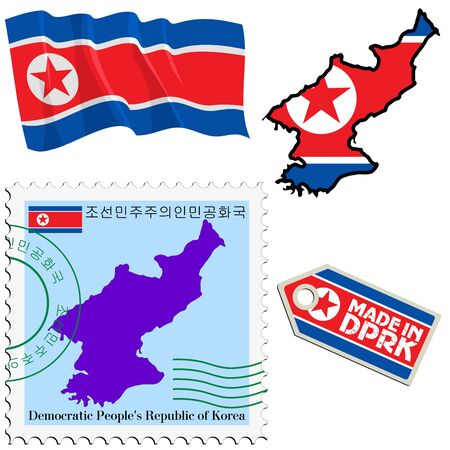 set of different symbols in national colours of North Korea Vector