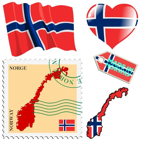 set of different symbols in national colours of Norway Stock Vector - 22645015