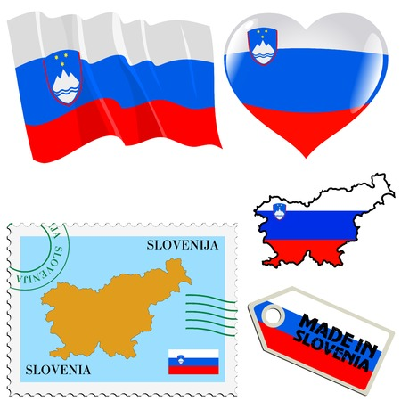 set of different symbols in national colours of Slovenia