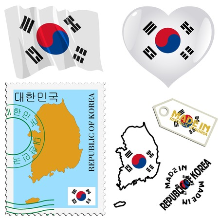 set of different symbols in national colours of South Korea Vector