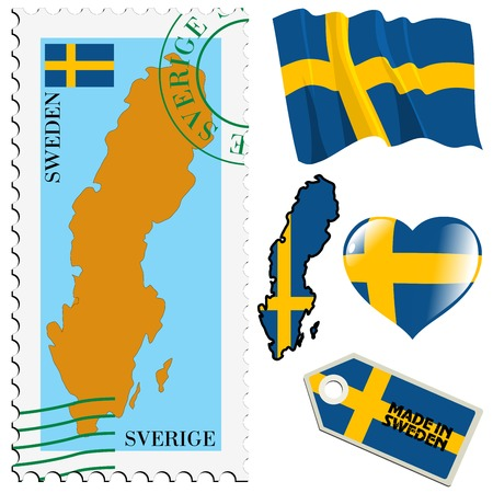 set of different symbols in national colours of Sweden Vector