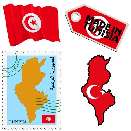 set of different symbols in national colours of Tunisia Vector