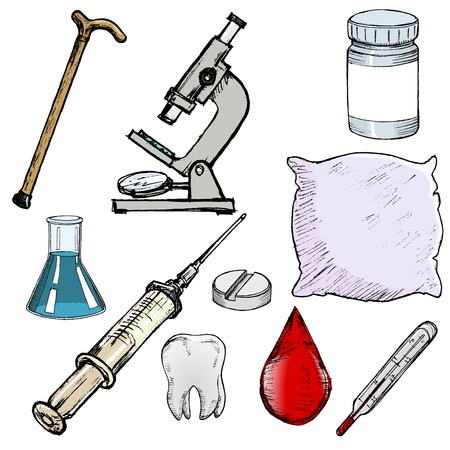 set of sketch illustration of different medical objects Vector