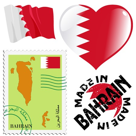 set of different symbols in national colours of Bahrain Vector