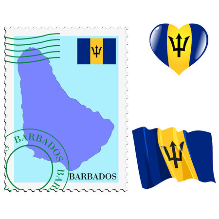 set of different symbols in national colours of Barbados